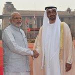 Crown Prince of Abu Dhabi, HH Sheikh Mohammed Bin Zayed Al Nahyan being welcomed by PM Shri @narendramodi https://t.co/69IJ0iqh8B