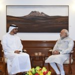 A meeting at 7RCR...HH Mohamed bin Zayed Al Nahyan meets PM @narendramodi at his residence. @MBZNews https://t.co/CTZx4i3S2m