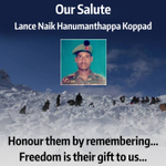 Salute to our hero Lance Naik Hanumanthappa who passed away at 11.45 am today. https://t.co/UQoTDhNEy4
