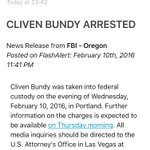 BREAKING: FBI confirms arrest of Cliven Bundy; details of charges not released. https://t.co/DujTT1Cjhr #KOIN6News https://t.co/WgAgFbJYCI