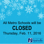 OFFICIAL: All Metro Schools will be closed today, Thursday, February 11, due to icy conditions on many roads. https://t.co/v9QGdNZkja