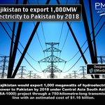 #EnergyThroughPMLN Tajikistan to export 1,000MW electricity to Pakistan by 2018. https://t.co/oYkXO77IbP