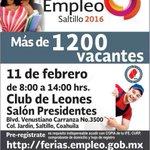 Hoy no te pierdas la Feria del Empleo en #Saltillo donde se ofrecerán más de 1200 vacantes @STPS_mx @SETRA_COAH https://t.co/wbxomArohi
