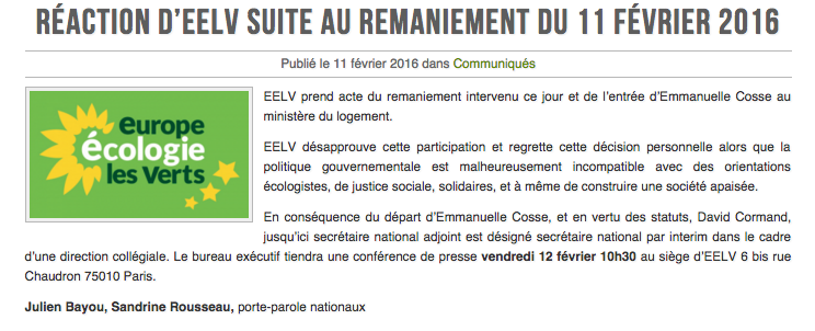 [CP] Réaction d'EELV suite au remaniement du 11 février 2016 https://t.co/SuS63Lg4Fo https://t.co/96NVDsDRnz