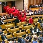 "EFF members chant out ""Zupta Must Fall"" as they leave the chambers #SONA2016 #Dstv405 https://t.co/m9QSOUtZxf"