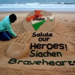 My tributes to the Martyrs of Siachen with my Sand Art at #PuriBeach Odisha. Salute to the #SiachenBravehearts.! https://t.co/A6OAfriZxx