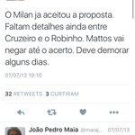 Segundo ex-setorista do cruzeiro @marcelofrade, Robinho deve fechar com cruzeiro. https://t.co/1rz1sZ3Kyy