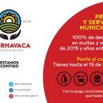 100% de descuento en multas y recargos de 2015 y años anteriores. #Cuernavaca https://t.co/Ak3vYIGJG3