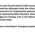 Nazem Kadri (@MapleLeafs) fined $5,000. https://t.co/Udg343daED
