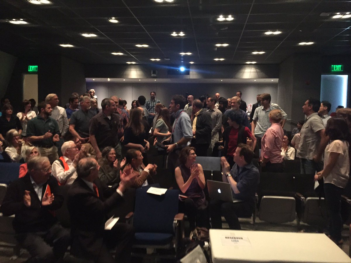 .@LIGO scientists at #Caltech viewing get a well-deserved round of applause #gravitationalwaves #einsteinwasright https://t.co/Vv6IsrroSV