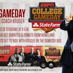 STUDENTS! Need a ride to @CollegeGameDay? We have you covered!   Coach Kruger will pick you up.... with breakfast! https://t.co/jzgIIUuRx2