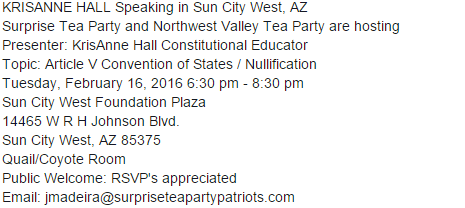 Don't miss this Surprise, AZ Event #tcot  #teaparty https://t.co/HAoB5dHHZV