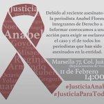 Hoy 2pm en la representación de Veracruz ALZAREMOS LA VOZ X EL ASESINATO D Anabel Flores! @epigmenioibarra @beto__34 https://t.co/8jkHWWYAPL