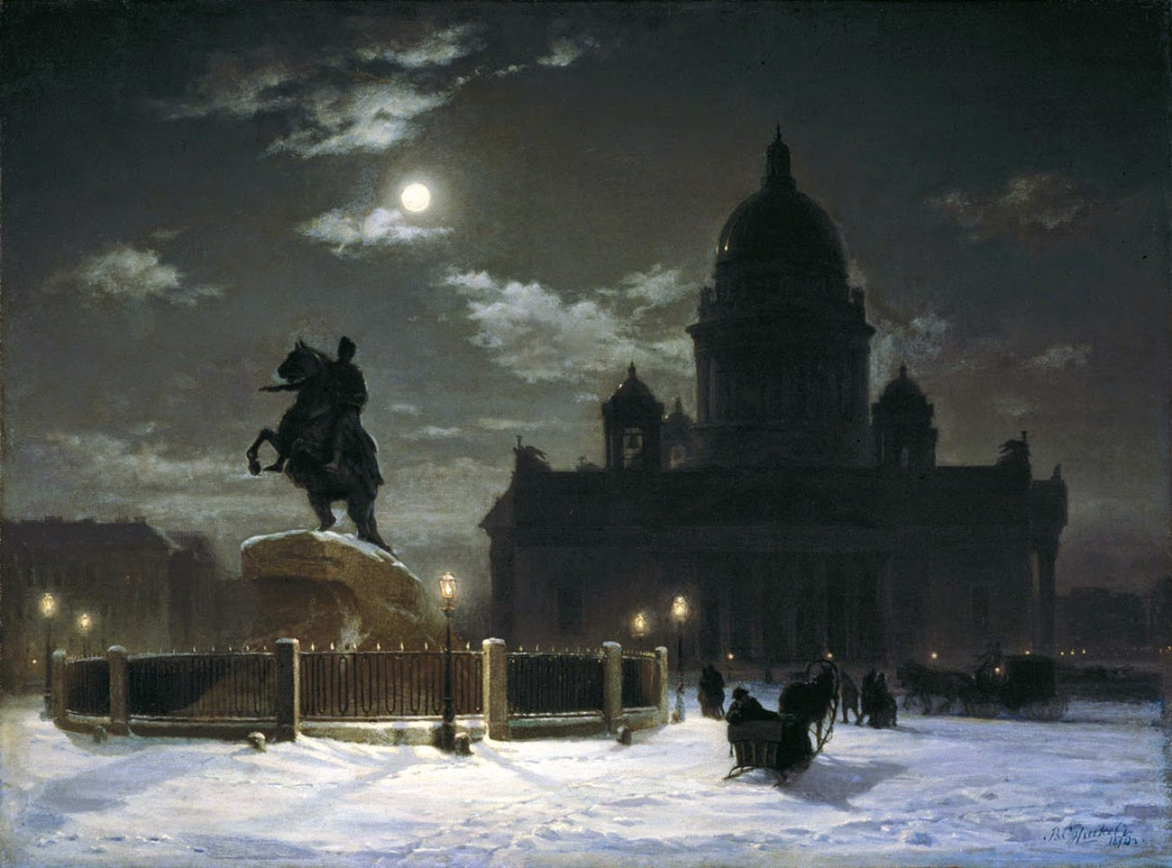 Vasily Surikov View of monument to Peter I on the Senate Square in St. Petersburg 1870 https://t.co/287ILImtrS