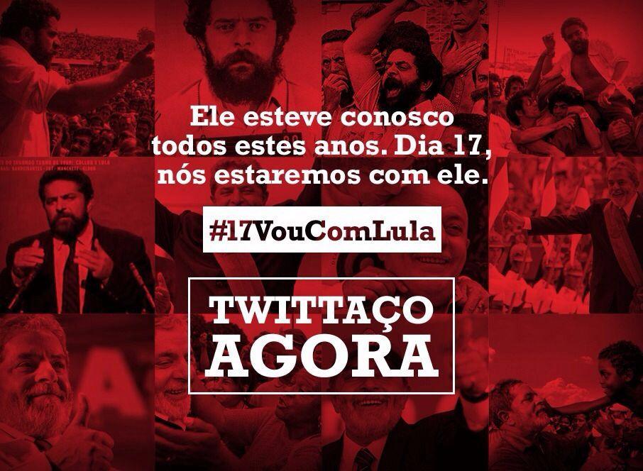 Começou o tuitaço #17VouComLula que convoca a sociedade brasileira para o ato em defesa de Lula. https://t.co/ibcgCNlWPS