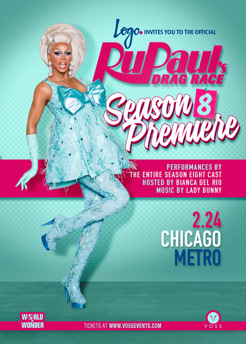 Hey Chicago! Join us Feb 24 for the @RuPaulsDragRace S8 Premiere Party @MetroChicago. TIX => https://t.co/yVGmUj1ada https://t.co/MIDsrLAXHj