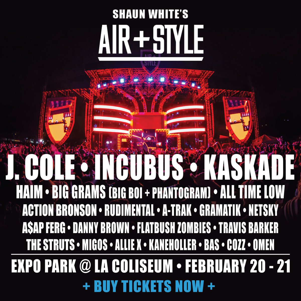 9 days till #airandstyle #losangeles w/ @JColeNC @kaskade @IncubusBand + more. Tickets -> https://t.co/M3HnQYg70P https://t.co/nsN9IqxD4h