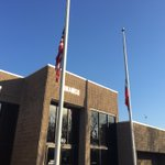 Flags at half-staff outside The Riverdale Police Department for officer killed in the line of duty @FOX5Atlanta https://t.co/bdCMBVqgMl