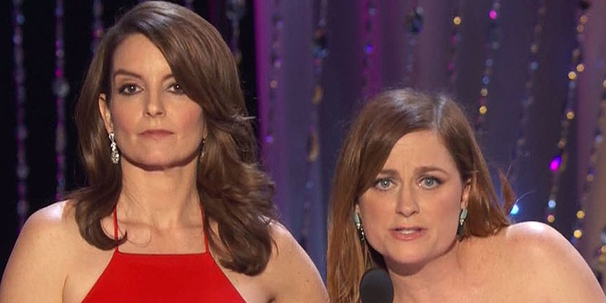 Tina Fey and Amy Poehler are totally over @LeoDicaprio at the sagawards 😂