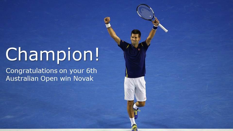 Congratulations @DjokerNole! 6 time #AusOpen champ! #AusOpenFinal #NoleFam #HeadbandForGood https://t.co/uY8xTBP01w