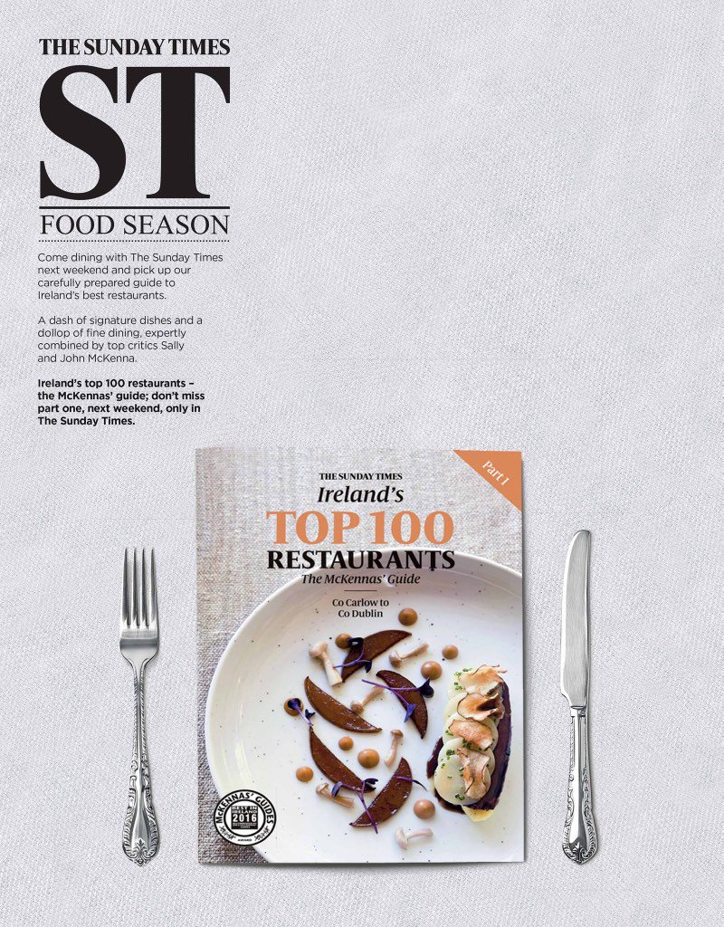 Announcing: we are teaming up with @SunTimesIreland to publish The 100 Best Restaurants #STBestRest starting next wk https://t.co/QKQCb4jP0y