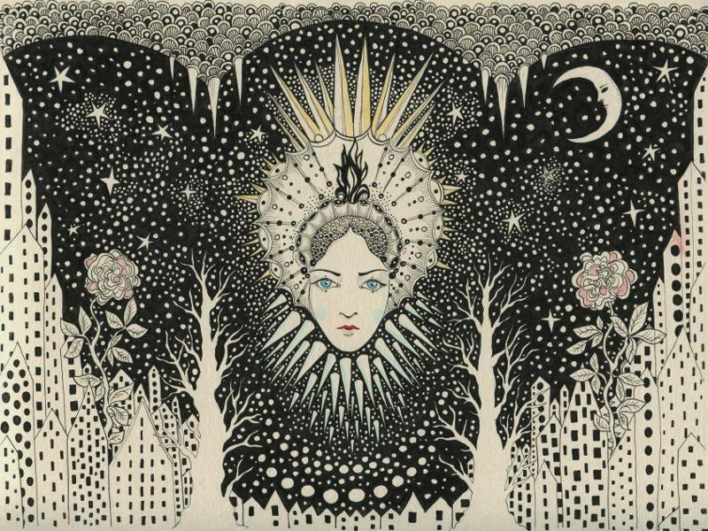 """Snow Queen"" 2015 pen & ink 30x20cm by Daria Hlazatova @daria_h #TwitterFirstFriday #art https://t.co/OSuuyol0bT https://t.co/gmf1A4HGHM"