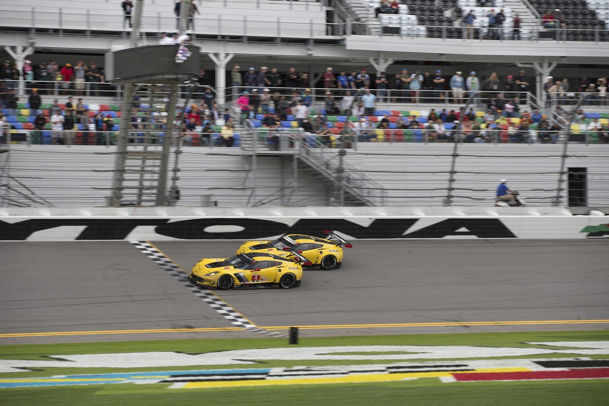 After 24 hours & 722 laps at @DISupdates #Rolex24 it comes down to this for @CorvetteRacing in thrilling 1-2 finish https://t.co/2q1mGdJrqp