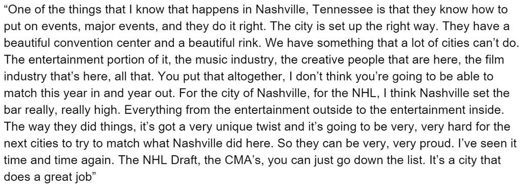 Former #Preds coach Barry Trotz on how Nashville did this week hosting the All-Star. (Classic long quote) #proud https://t.co/qbesIjoue1