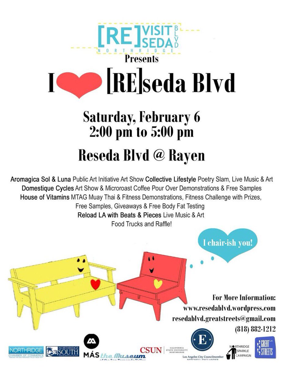 "Saturday 2/6, come find us at ""I Heart #Reseda"". Rayen & Reseda Blvd;  Food, Entertainment, and Fun! 2-5p C u there! https://t.co/zO0PbJ2re4"