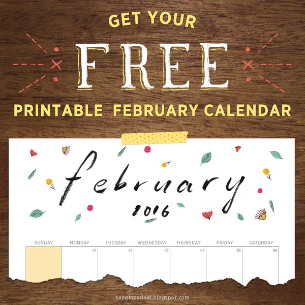 The February FREE printable calendar is up! Go get your copy now, and RT if you like