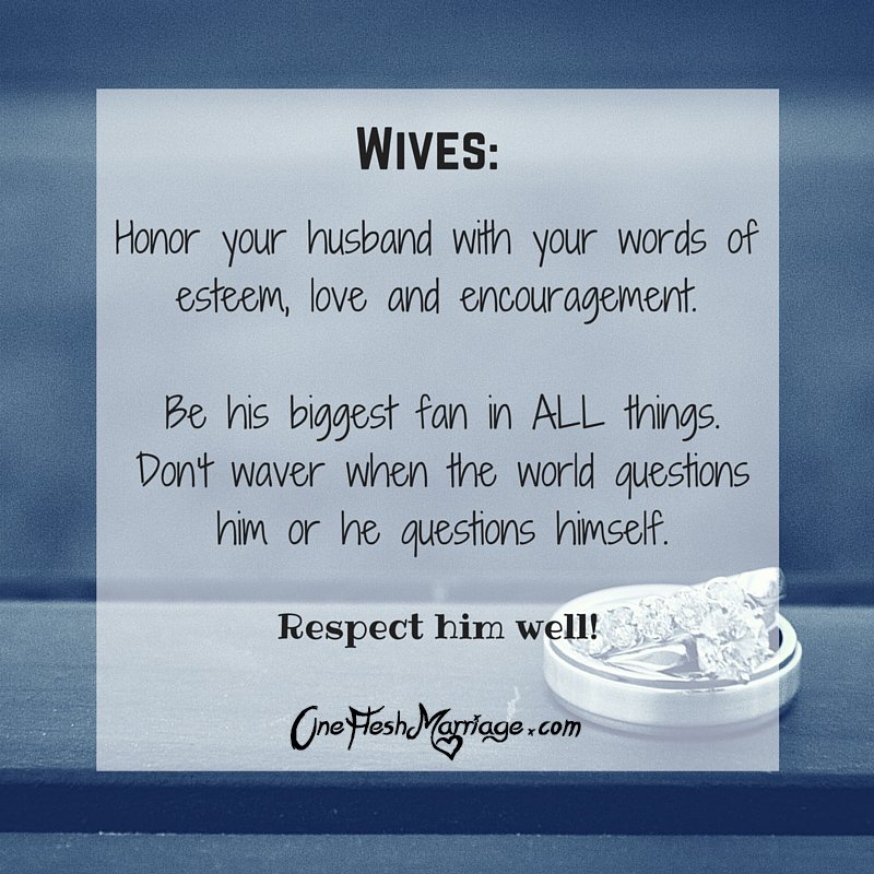 Wives . . . we have a precious opportunity to respect our husbands. When we do, we are loving them well! https://t.co/7V3KdAjL9M