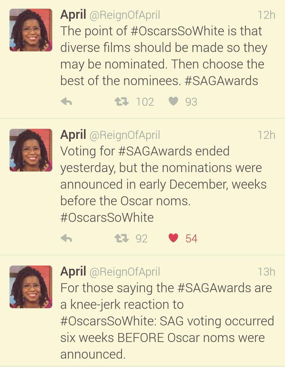 .@ReignofApril on #Oscars vs #SAG awards. She'll be at #NABJ #BlackTwitter event 2/27, NYC https://t.co/sttWaTgLgH https://t.co/HgaOhJVmNs