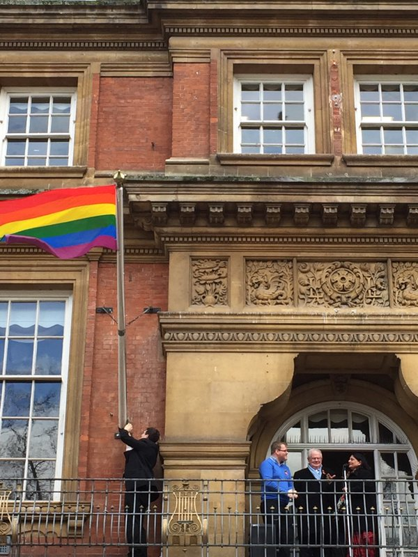 Rainbow flag flying across #Leicestershire today, to mark start of #LGBTHM, inc. joint event at Leicester Town Hall. https://t.co/wKjDnsIF6z