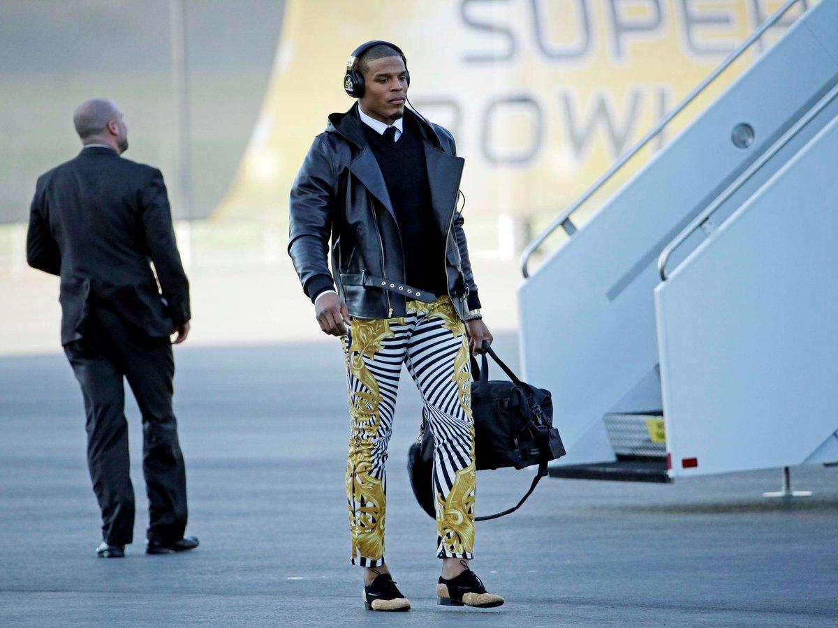 Cam Newton dropped $850 on a pair of crazy striped Versace pants https://t.co/DKfDNfz0ku https://t.co/sr4HtKns05