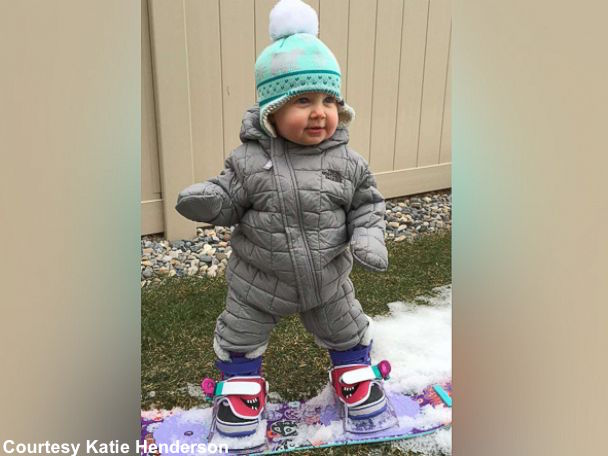 Parents take 14-month-old baby snowboarding just weeks ...