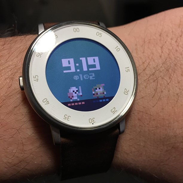 Been working on a passive RPG watch face for my @Pebble. (pixel art from sprite set by @cgbarrett) https://t.co/NJU2w73CyJ