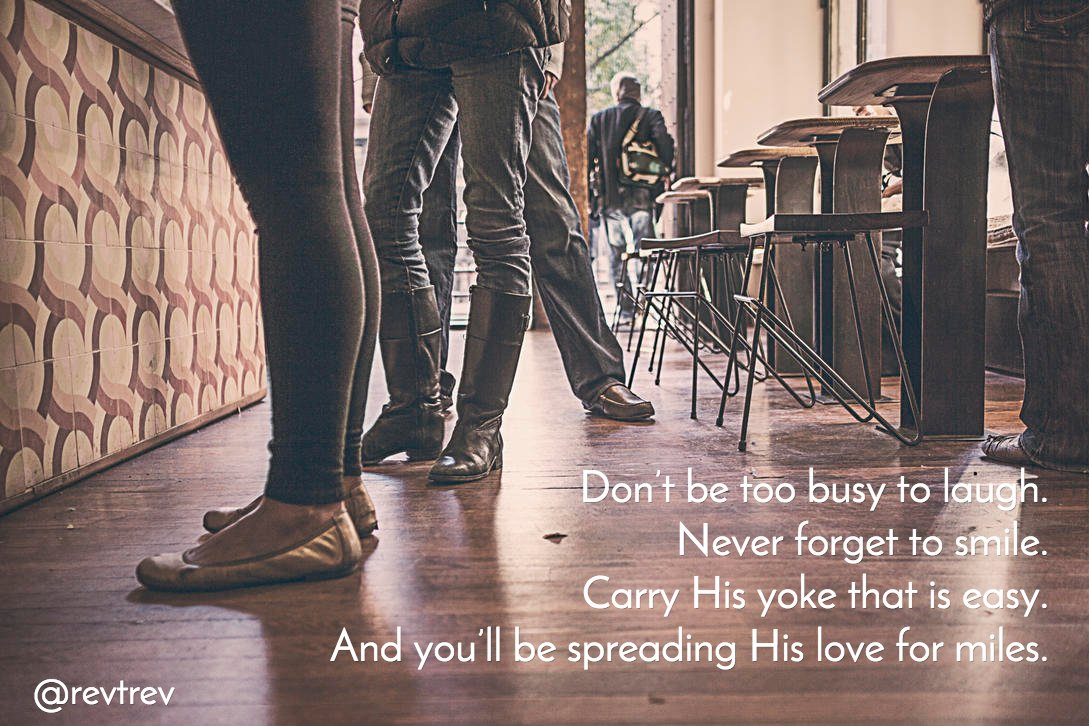 Don't be too busy to laugh. Never forget to smile. Carry His yoke that is easy. And you'll be... https://t.co/RzraOk275p