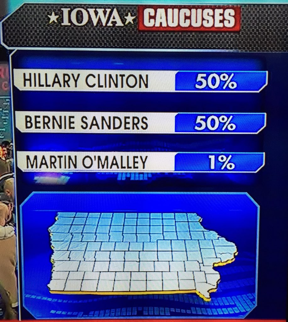 Wow! How does @BernieSanders tie @HillaryClinton, a fmr First Lady, US Senator & Sec State? Shocking! #IowaCaucus https://t.co/gPYDL1Vz1e
