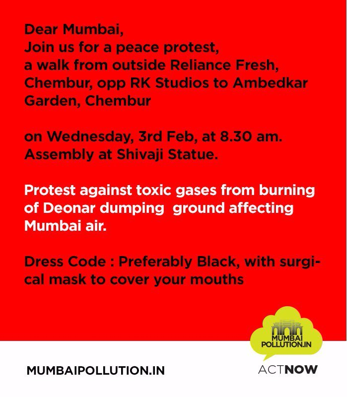 #MumbaiSmokeCloud peaceful march tomorrow. Please spread the word https://t.co/Hj5I5l90Os