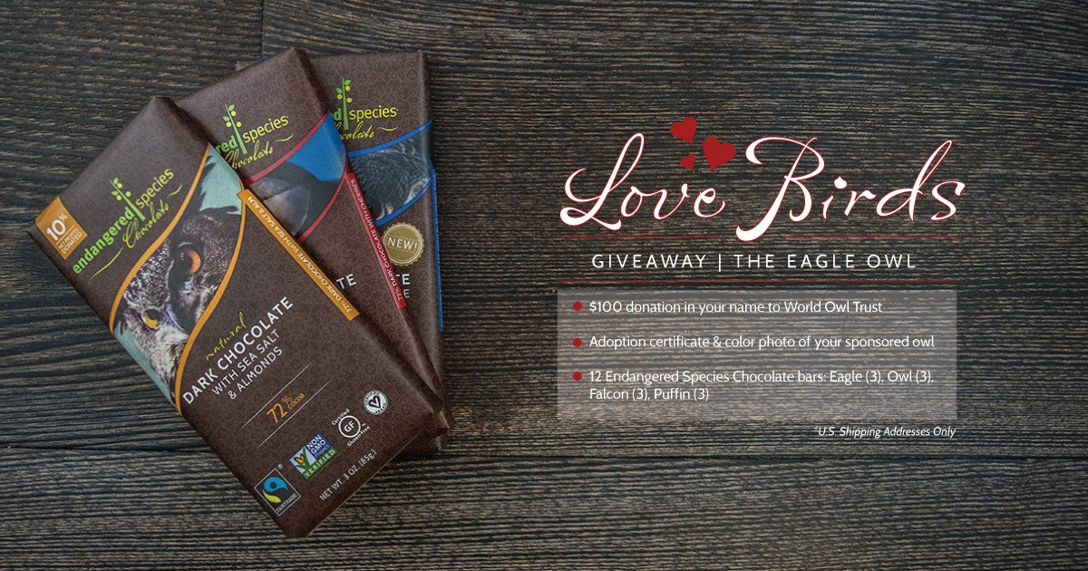 $100 @Owltrust donation made in your name + chocolate for you! RT to enter. 1 winner on Feb 5; U.S. shipping only https://t.co/SW39XPZKcf