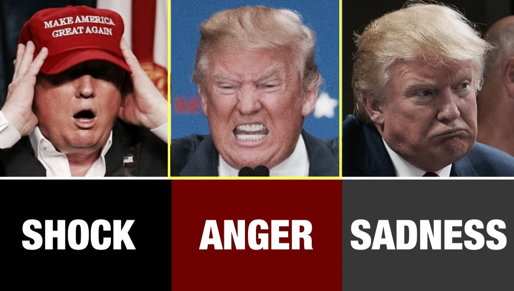 The 3 stages of grief! After a night of shock #DonaldTrump has officially reached the anger stage today! https://t.co/ptsNexqdoO