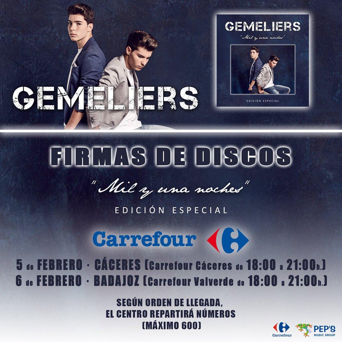 Firma de discos y libros de @GemeliersMusic el próximo fin de semana en #Carrefour ¡Te esperamos! https://t.co/BJCl55Af58