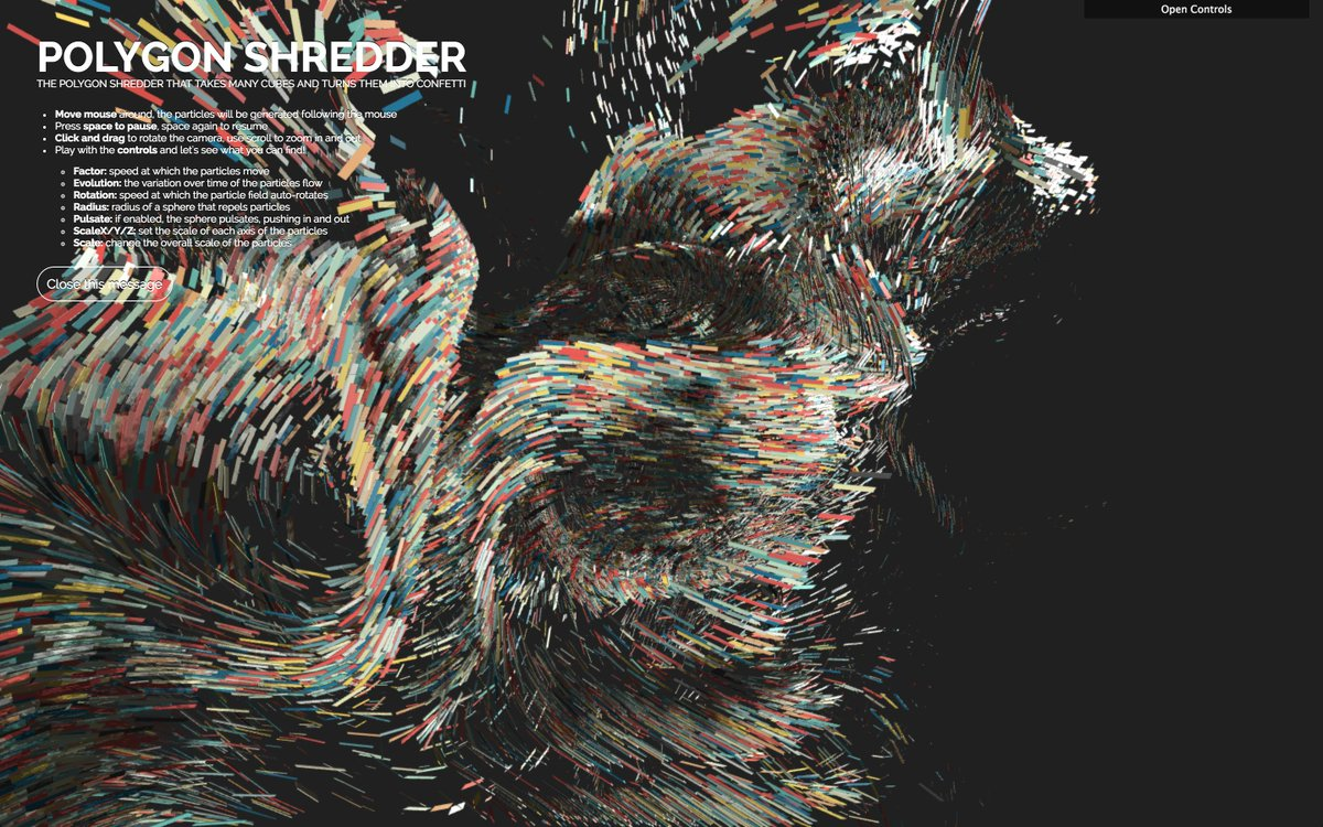 The Polygon Shredder, alpha! Live: https://t.co/VVGa2OOkja Code: https://t.co/H251uUsKnk #WebGL #threejs #JavaScript https://t.co/CmKr1WCRr0