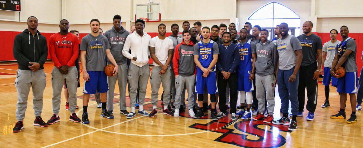 .@warriors drops by @StJohnsU for practice/meet & greet with @StJohnsBBall #SJUBB #DubNation @StephenCurry30 @nba https://t.co/z59pKalyfu