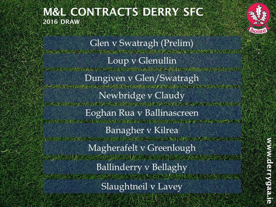 The draw for the 2016 M&L Contracts #DerrySFC #GAA https://t.co/YTLxtWAZlq