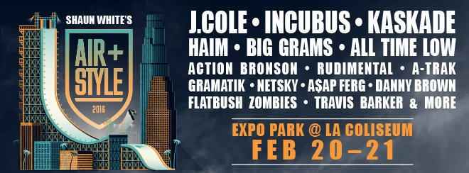 J. Cole, Incubus, Kaskade and more. Don't miss Air + Style Los Angeles February 20-21 >> https://t.co/87KW9JQOYu https://t.co/WByjSUwEu8