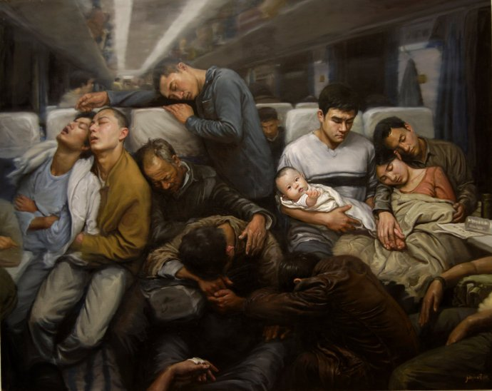 终于找到这幅画了,我觉得这幅画代表了近20年来,中国人集体无意识最佳写照:一趟不知驶向何处的列车,载着一群昏睡漠然的人在飞奔。 https://t.co/s5WiQS6y7S