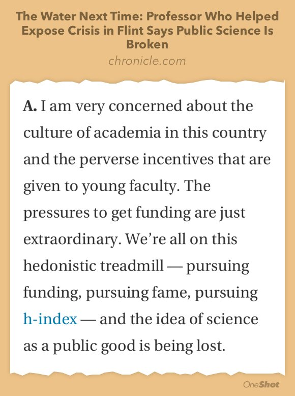 Scientist who found lead in Flint says academic incentives discourage public interest work. https://t.co/d2hLdxHUnD https://t.co/7lOIG5qe7k