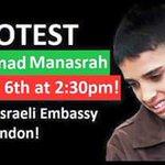 .@Palestineninja PLZ Help #FreeAhmadManasrah protest 2.30pm sat 6th feb, & twitterstorm 7pm https://t.co/612VRWC6yi https://t.co/Bc2mu3fWWJ