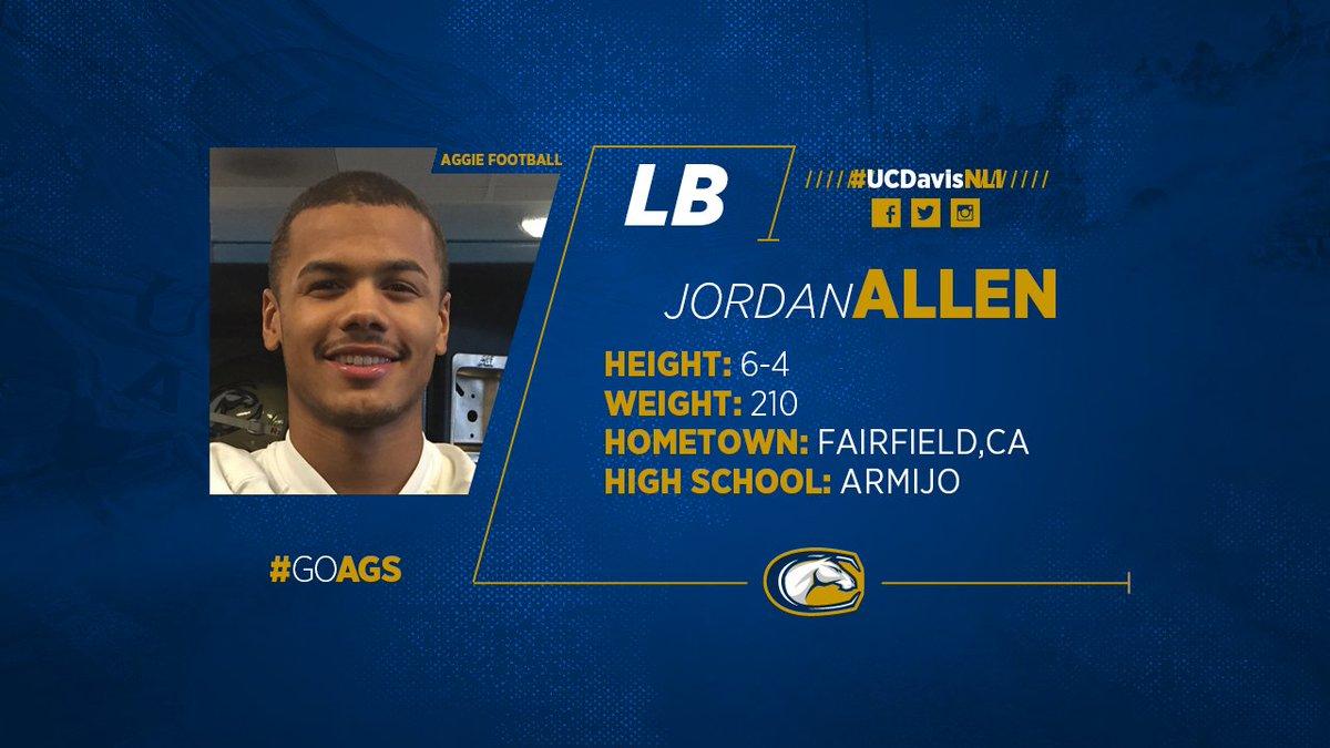 FB: Welcome DL Jordan Allen (Armijo HS) to the #UCDavis #Aggie family! #UCDavisNLI #GoAgs #BigWestFB https://t.co/ykOLPTGTAS